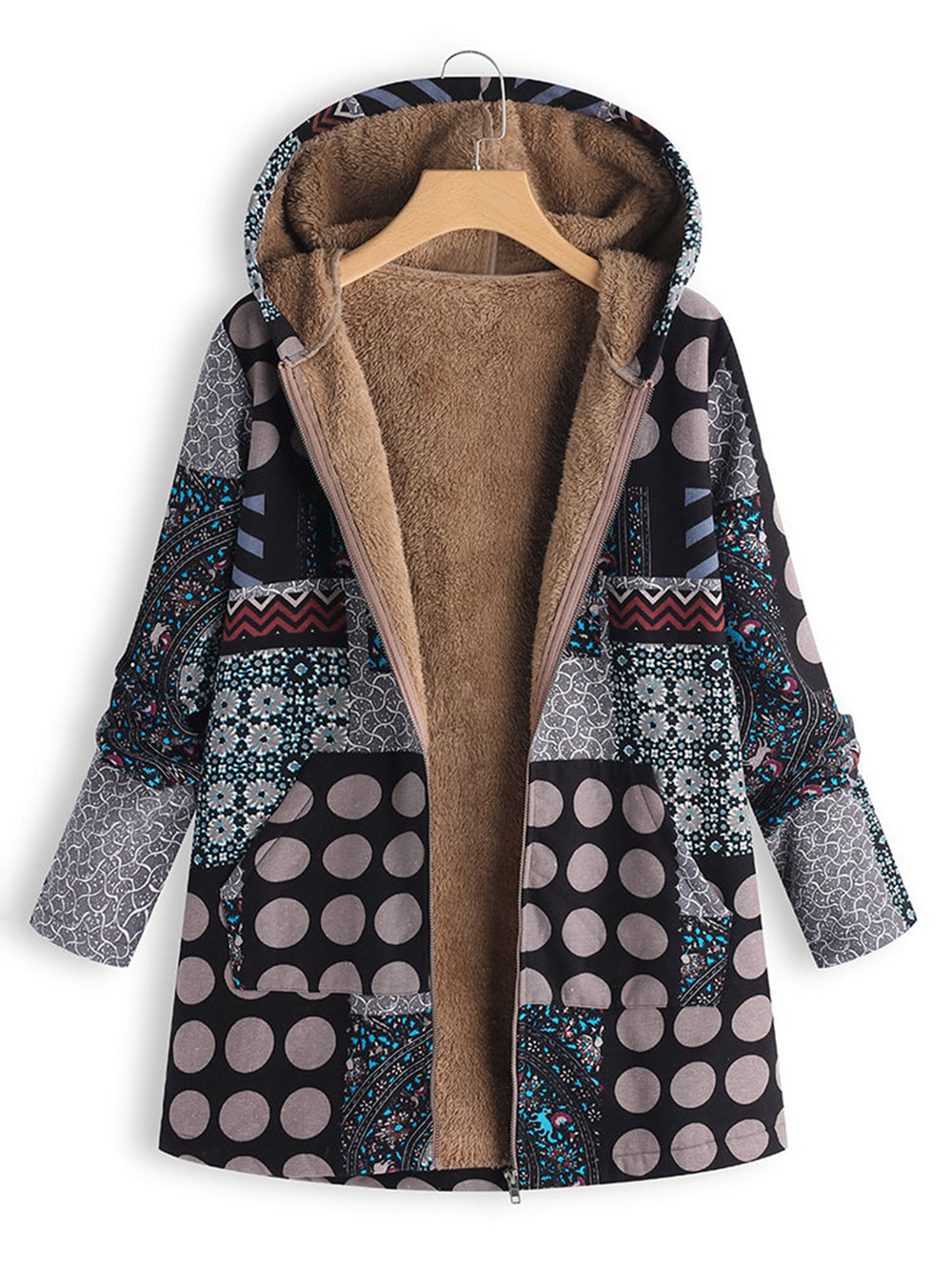 Casual Printed Long Sleeve Polka Dots Plus Size Coat