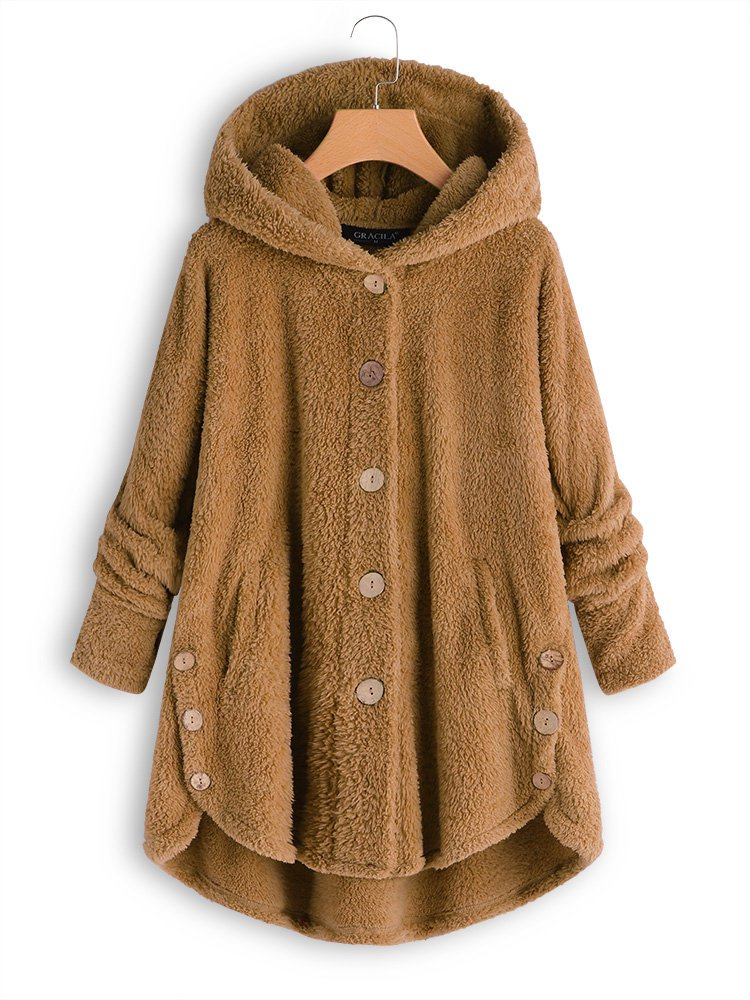 Buttoned Casual Long Sleeve Plus Size Coat