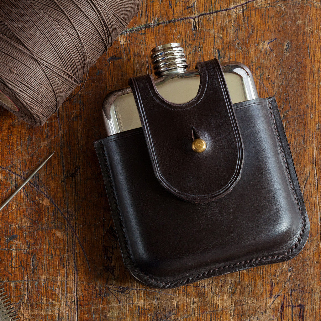 Leather hip flask by SWIG flasks