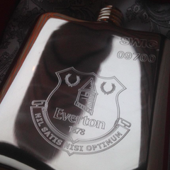 Everton personalised hip flask engraving
