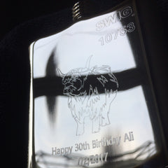 Highland Cow personalised hip flask engraving
