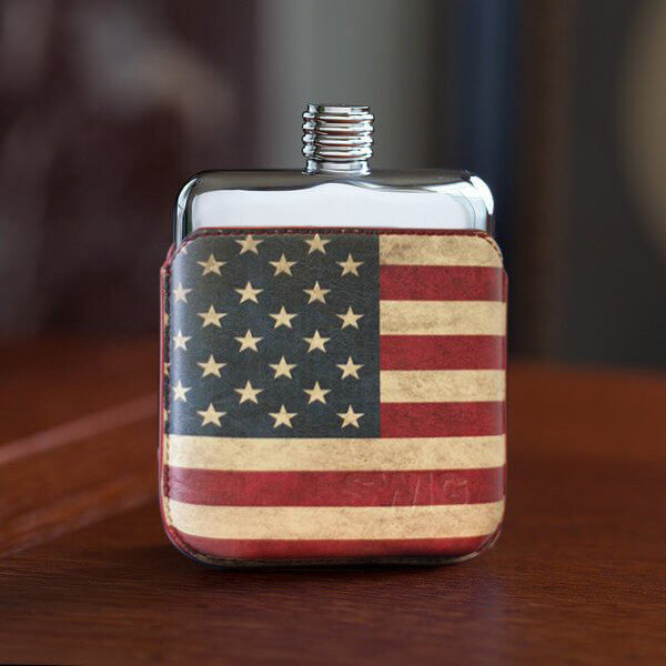SWIG Hip Flask StarsnStripes Leather Executive Personalised