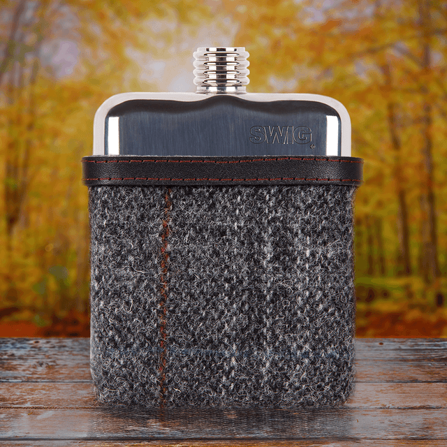SWIG® Harris Tweed Black Hip Flask