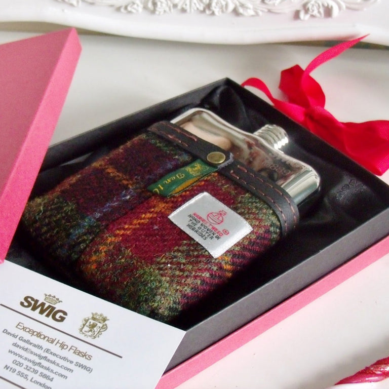 SWIG® Harris Tweed Red Hip Flask