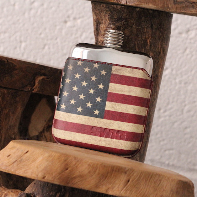 SWIG Hip Flask StarsnStripes Leather Executive Custom