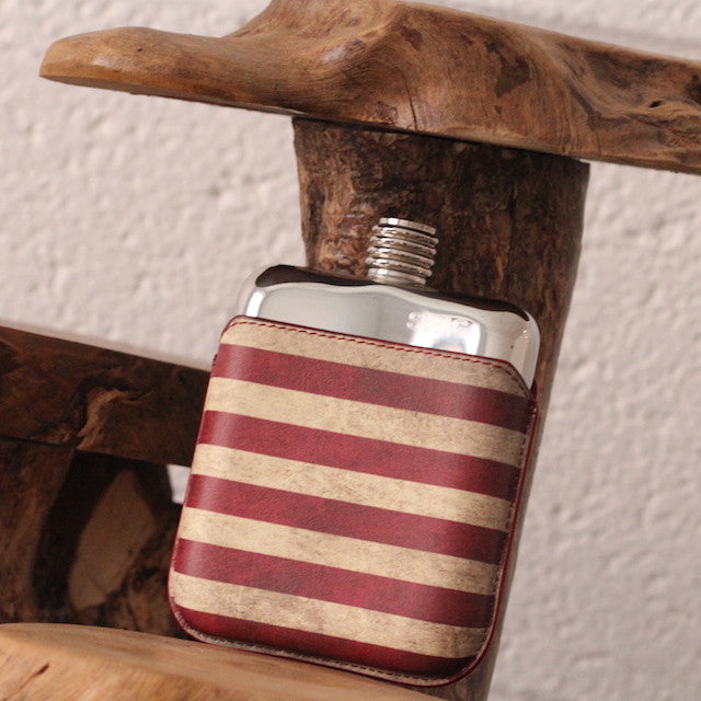 SWIG Hip Flask StarsnStripes Leather Executive Personalised -Back