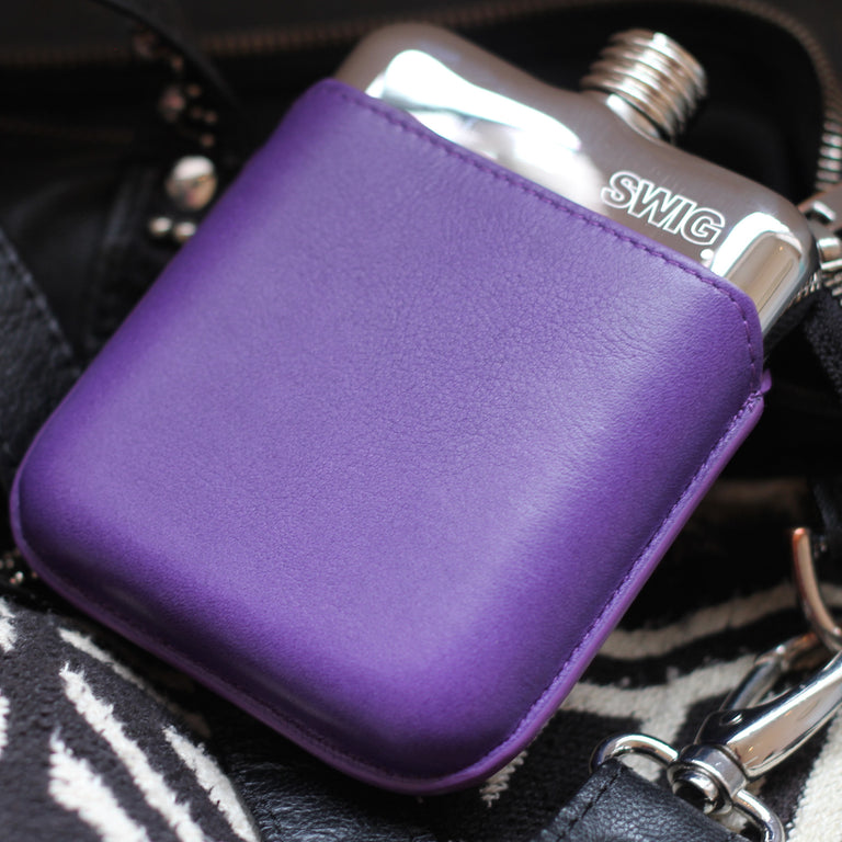 SWIG Hip Flask Purple Leather Executive Personalised -Back