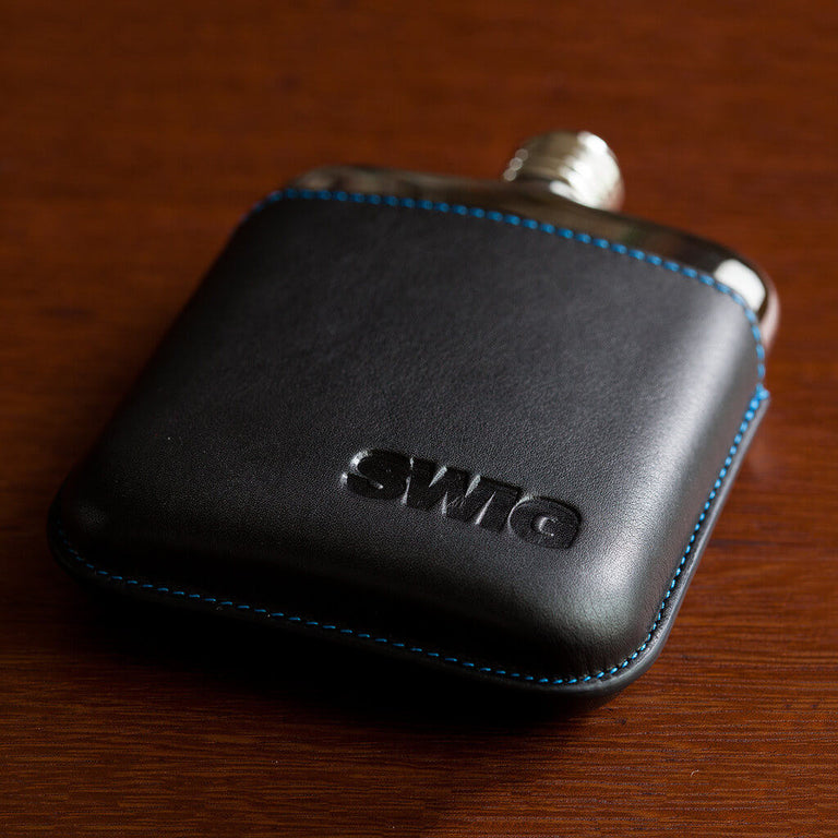 SWIG Hip Flask Black Leather Executive Personalised