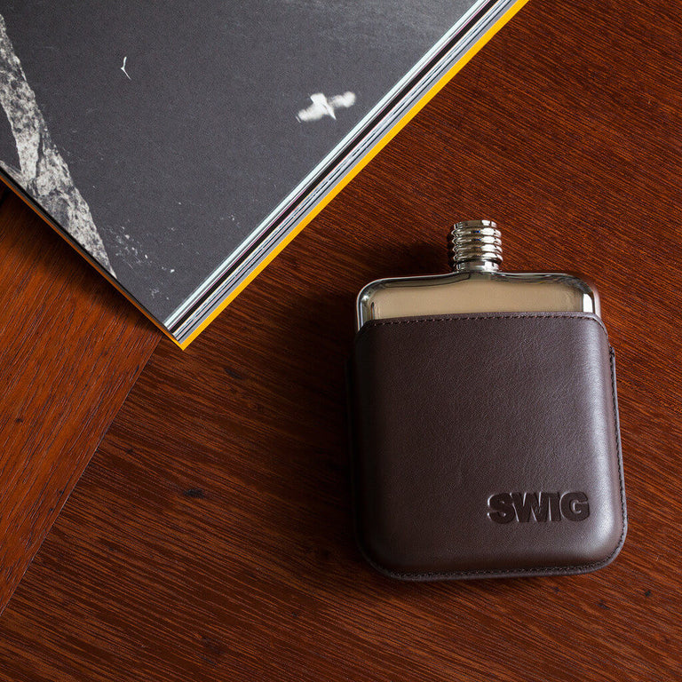 Brown Leather Executive SWIG Hip Flask - book