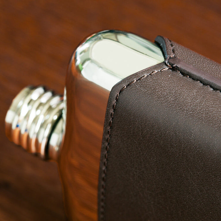 Brown Leather Executive SWIG Hip Flask - Side