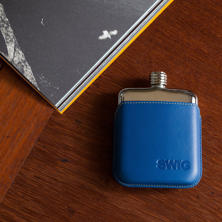 SWIG Blue Leather Executive Hip Flask - book
