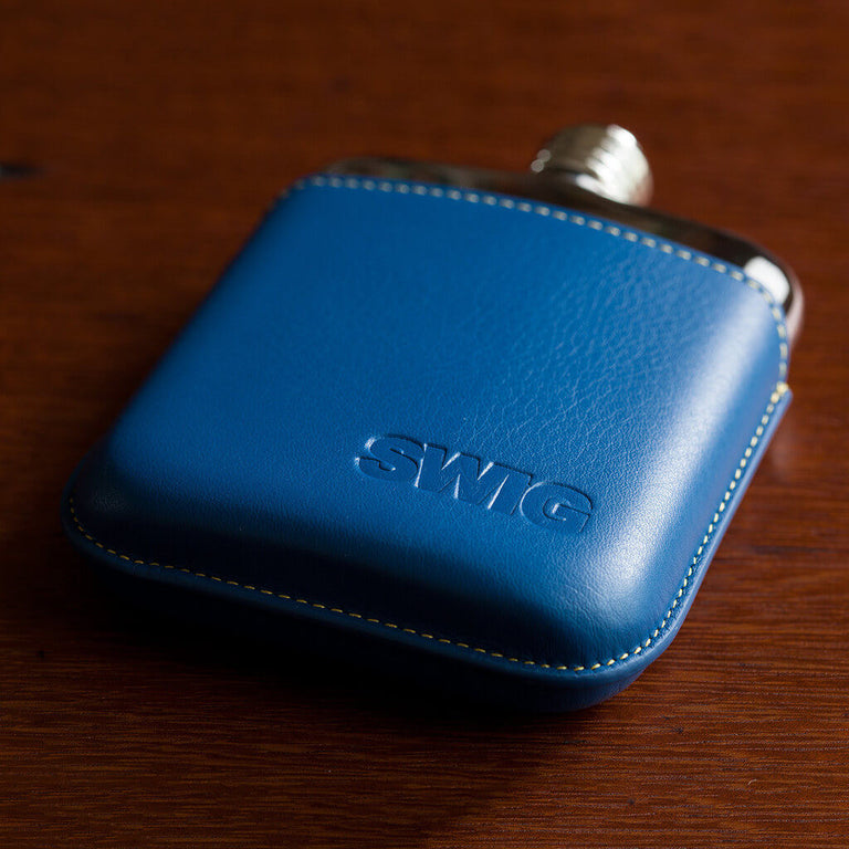 SWIG Blue Leather Executive Hip Flask - down