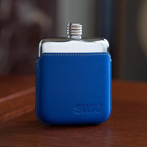 SWIG Blue Leather Executive Hip Flask - front