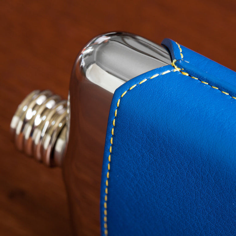 SWIG Blue Leather Executive Hip Flask - side