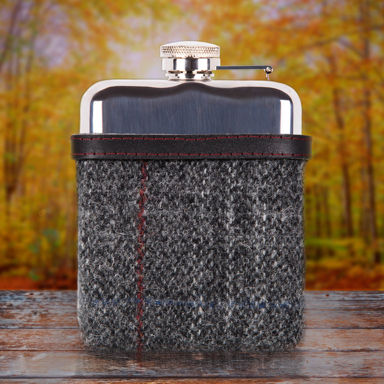 SWIG Hip Flasks Capped Tweed Black Hip Flask