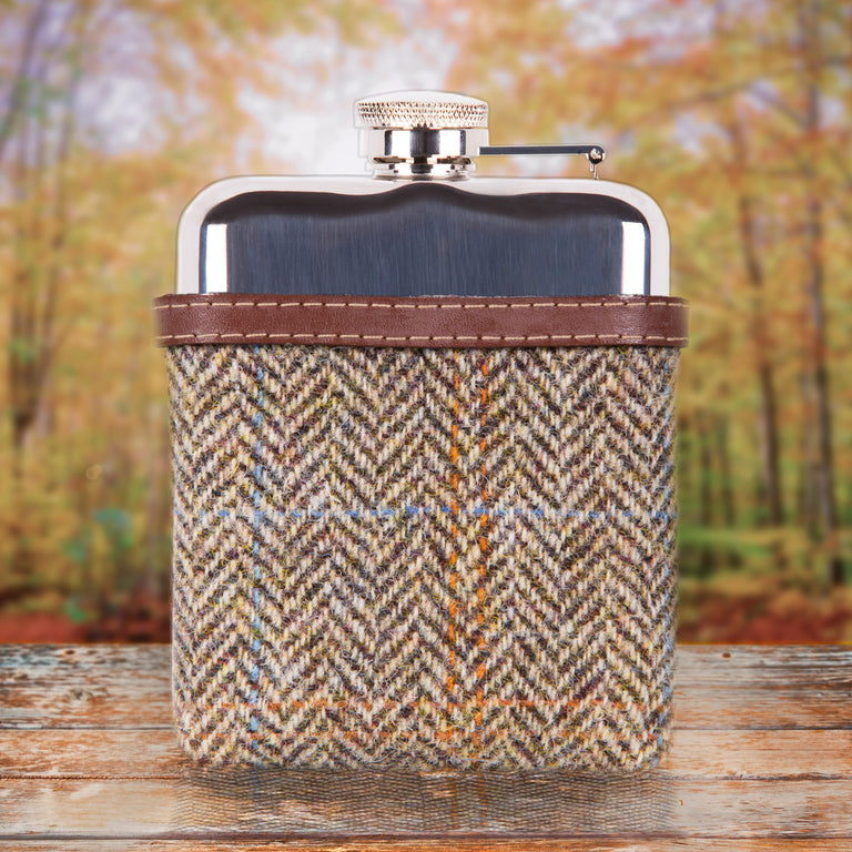 SWIG Hip Flasks Capped Tweed Brown Hip Flask