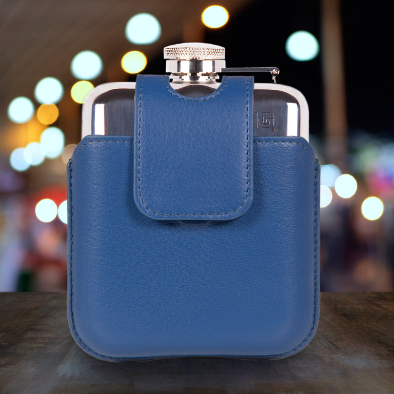SWIG Hip Flasks Capped Hip Flask - Executive Magnetic Blue
