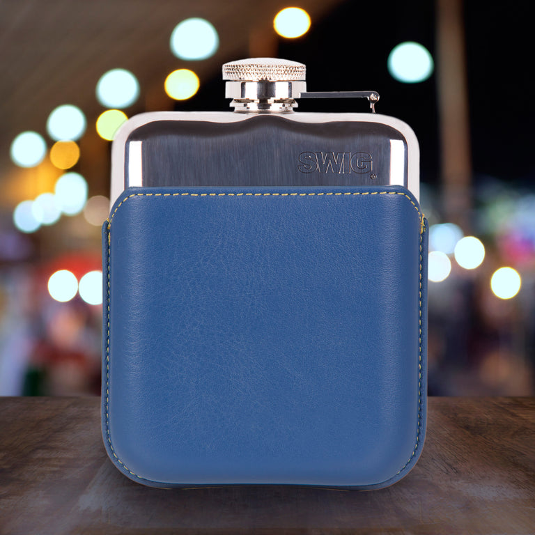 SWIG Hip Flasks Capped Hip Flask - Executive Blue