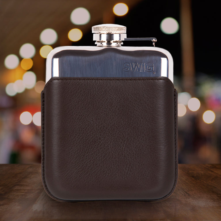SWIG Hip Flasks Capped Hip Flask - Executive Brown