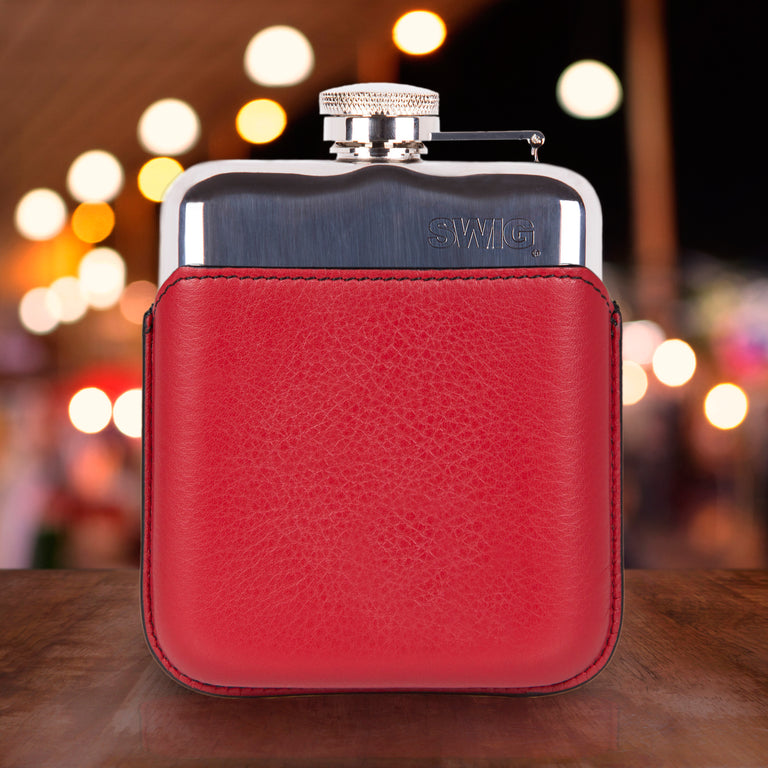 SWIG Hip Flasks Capped Hip Flask - Executive Red