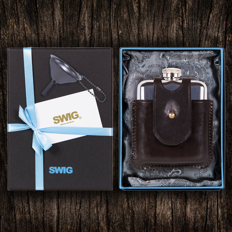Wedding Hip Flask Capped Scottish Heritage SWIG Gift Set