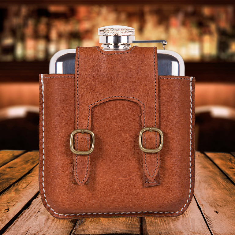 SWIG Hip Flasks Capped Hip Flask - Kangaroo Leather