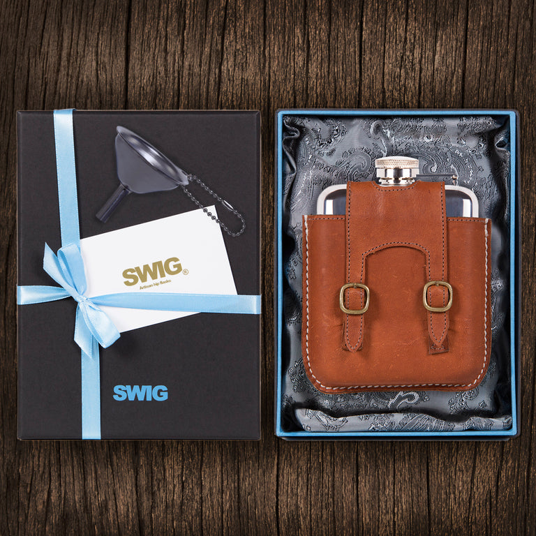 SWIG Hip Flasks Capped Kangaroo Leather Gift Set