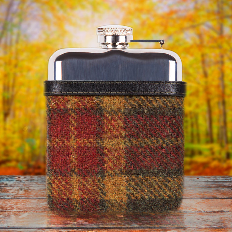 SWIG Hip Flasks Capped Tweed Red Hip Flask