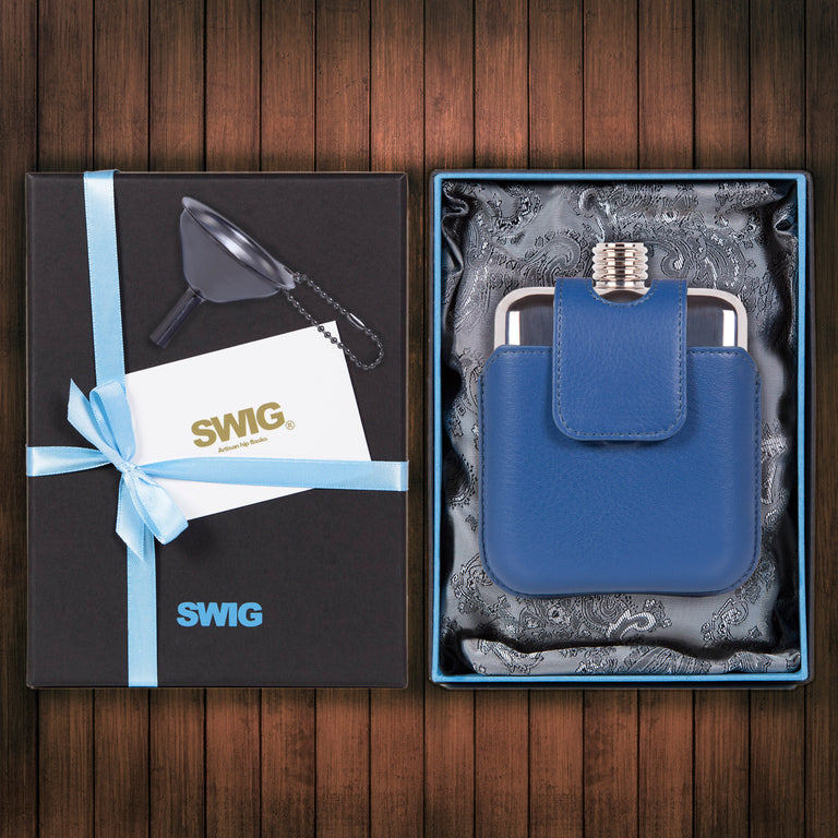 Wedding Hip Flask Gift Set Executive Magnetic Blue SWIG