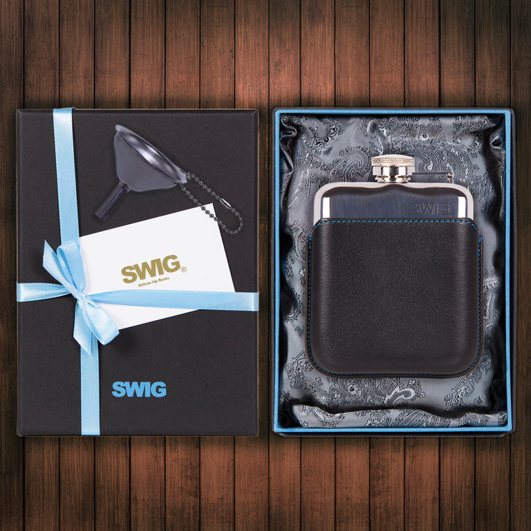 SWIG Hip Flasks Capped Executive Black Gift Set