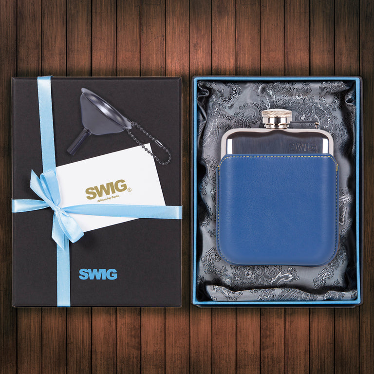 SWIG Hip Flasks Capped Executive Blue Gift Set