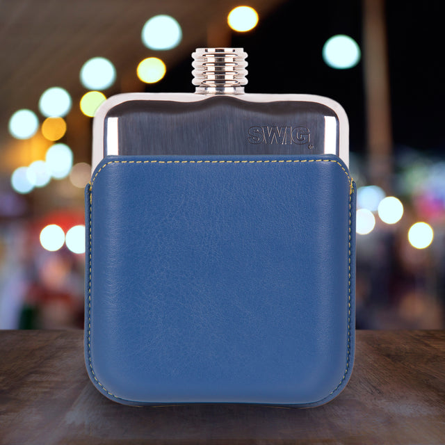 SWIG Blue Leather Executive Hip Flask - back
