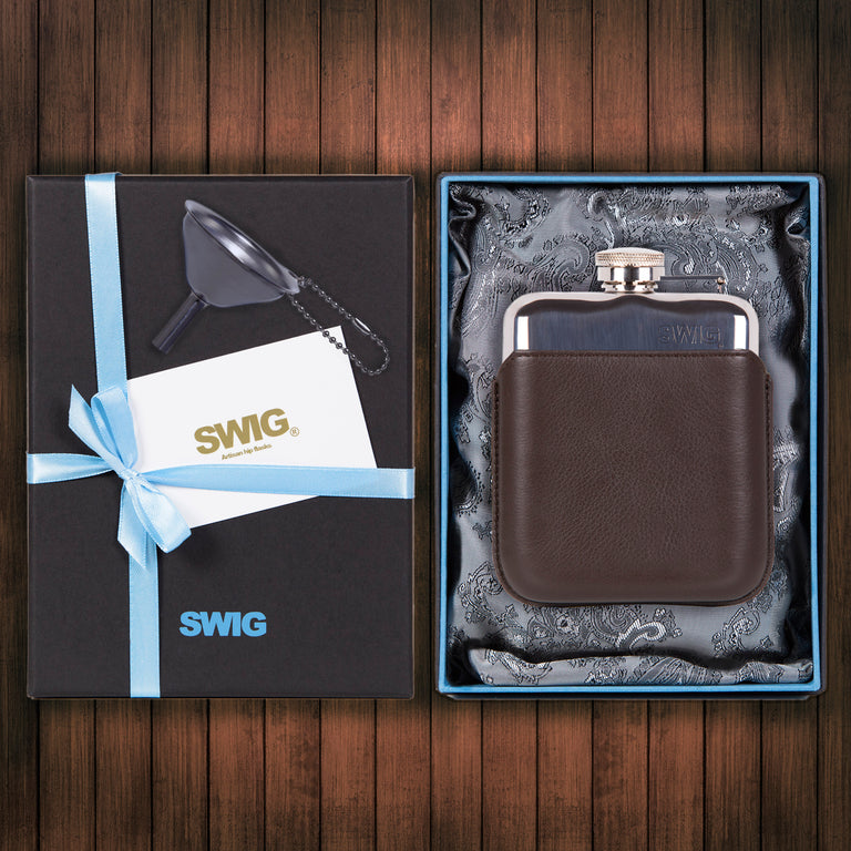 SWIG Hip Flasks Capped Executive Brown Gift Set