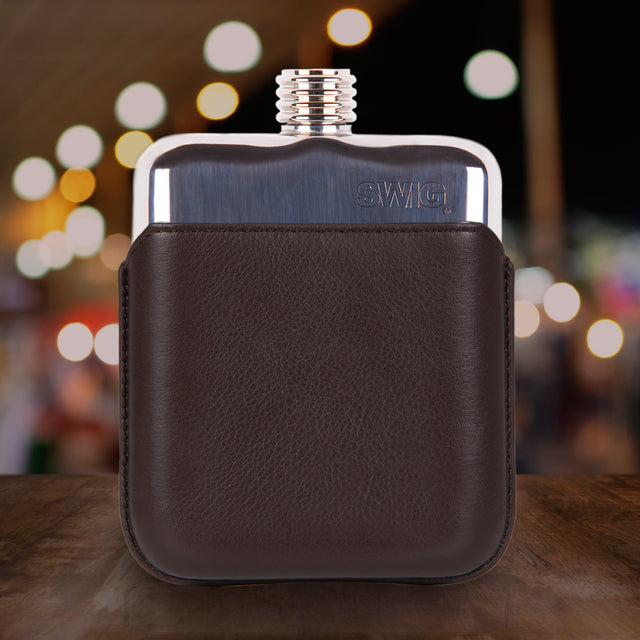 Brown Leather Executive SWIG Hip Flask - Front