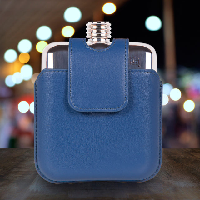 SWIG Magnetic Blue Executive Flask - Front
