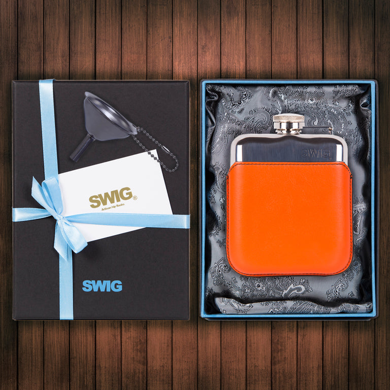 SWIG Hip Flasks Capped Executive Orange Gift Set