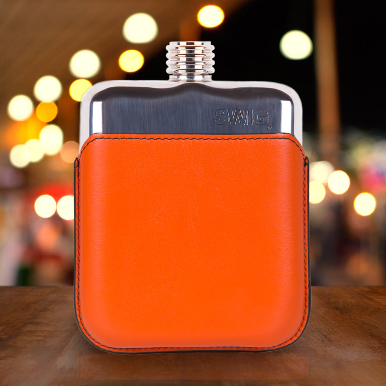 SWIG Orange Executive Hip Flask - Front