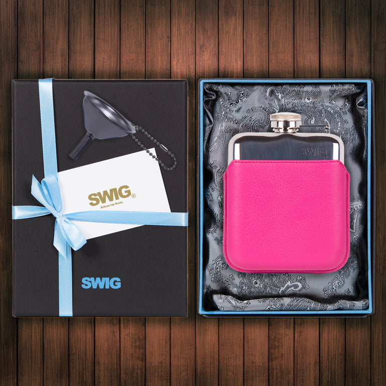 SWIG Hip Flasks Capped Executive Pink Gift Set