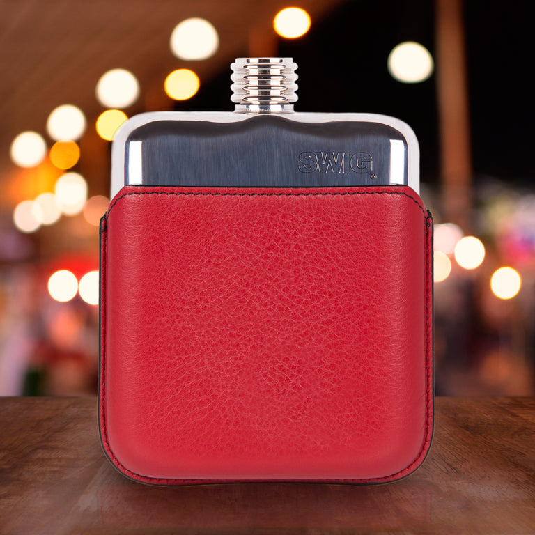 SWIG Hip Flask Red Leather Executive Personalised