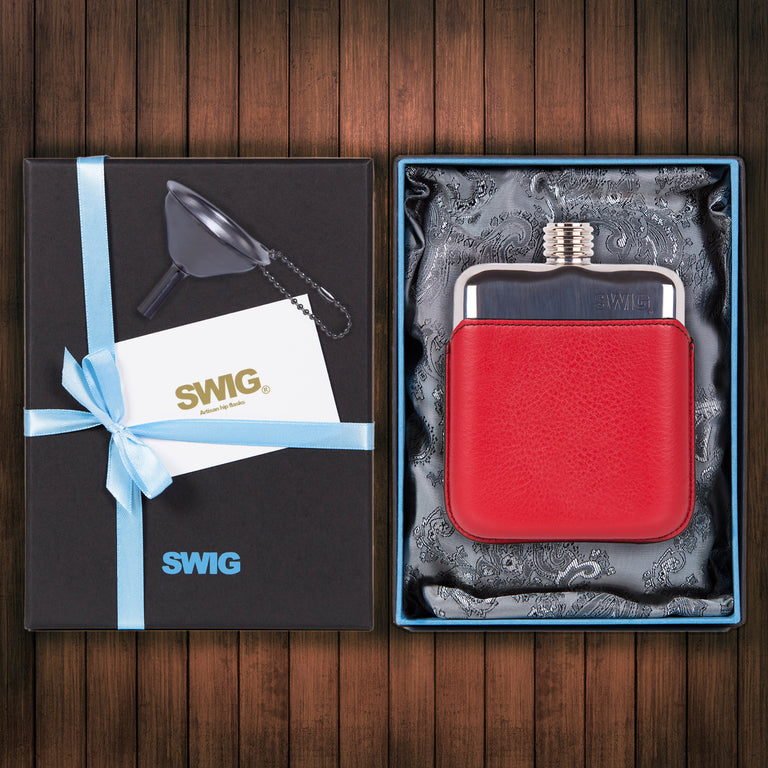 Wedding Hip Flask Gift Set Executive Red SWIG