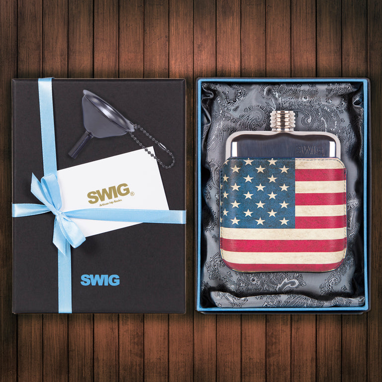 Wedding Hip Flask Gift Set Executive Stars n Stripes SWIG