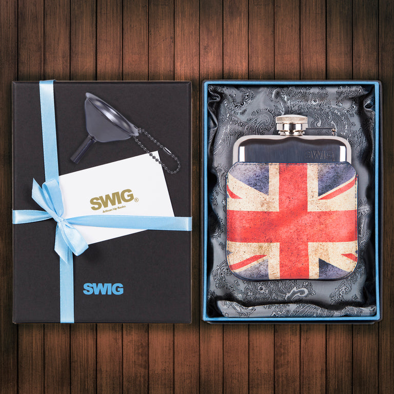 SWIG Hip Flasks Capped Executive Union Jack Gift Set