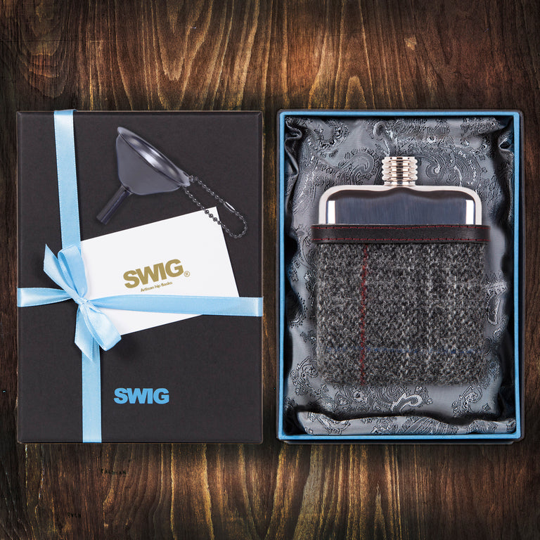 Wedding Hip Flask Harris Tweed Black Gift Set SWIG