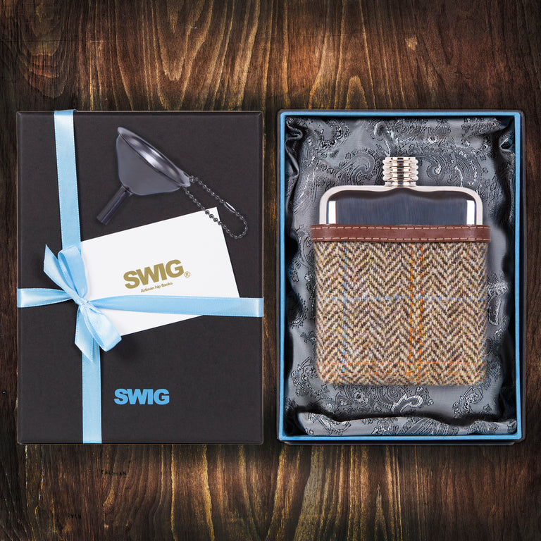 Wedding Hip Flask Harris Tweed Brown Gift Set SWIG