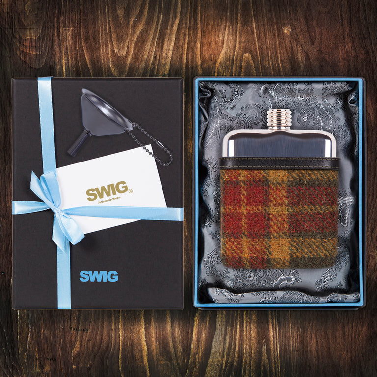 Wedding Hip Flask Harris Tweed Red Gift Set SWIG