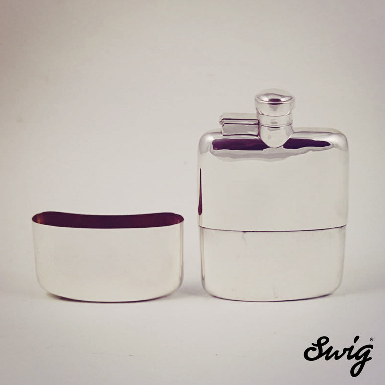 Hip Flask antique silver and glass