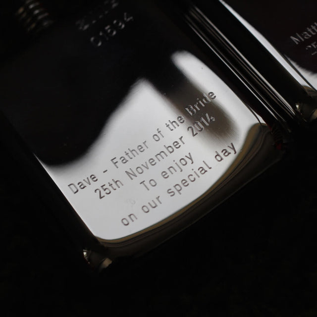 SWIG Hip Flasks Engraving Close up