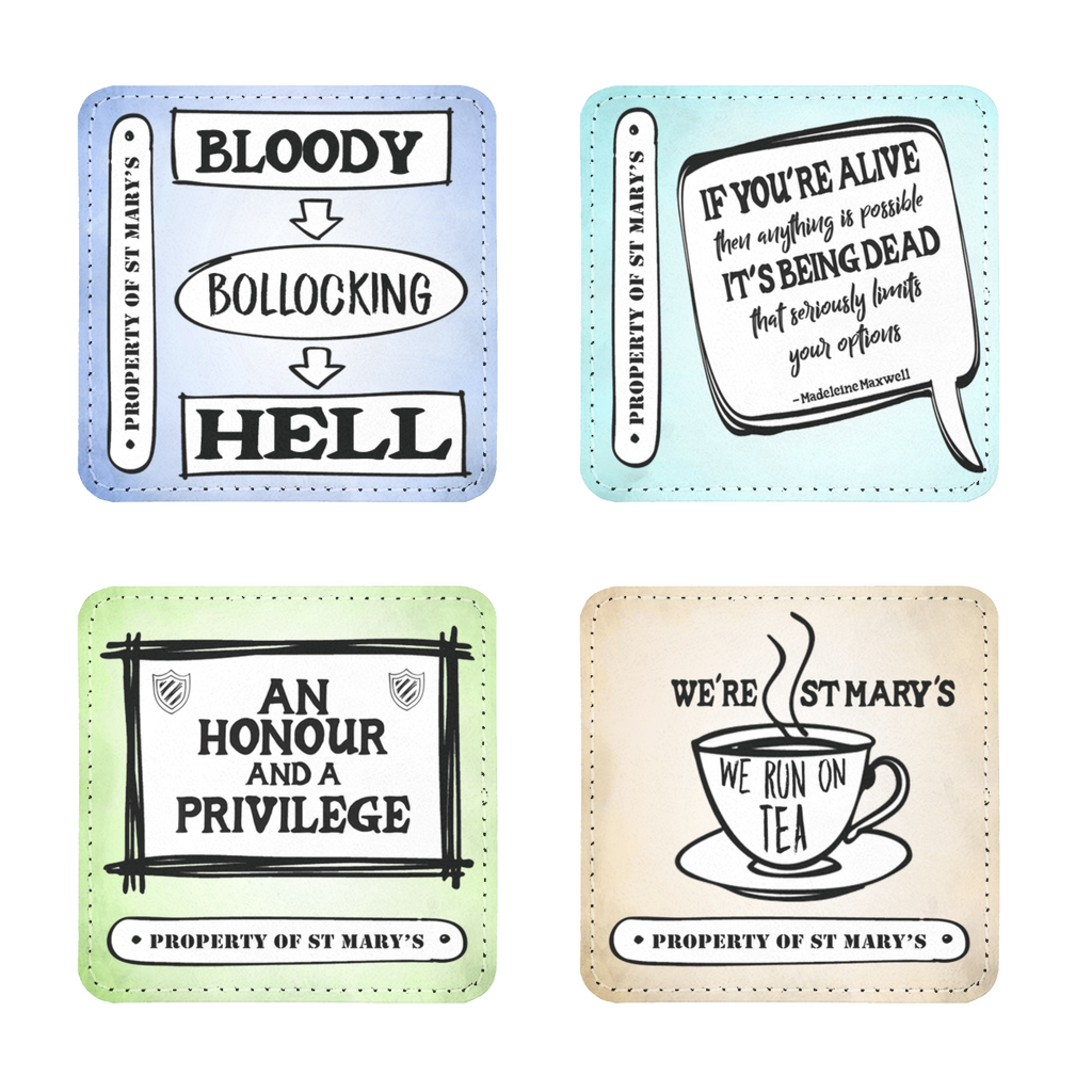 """Bloody Bollocking Hell"" Quotes Range (UK) Coasters Pack of Four - Jodi Taylor"