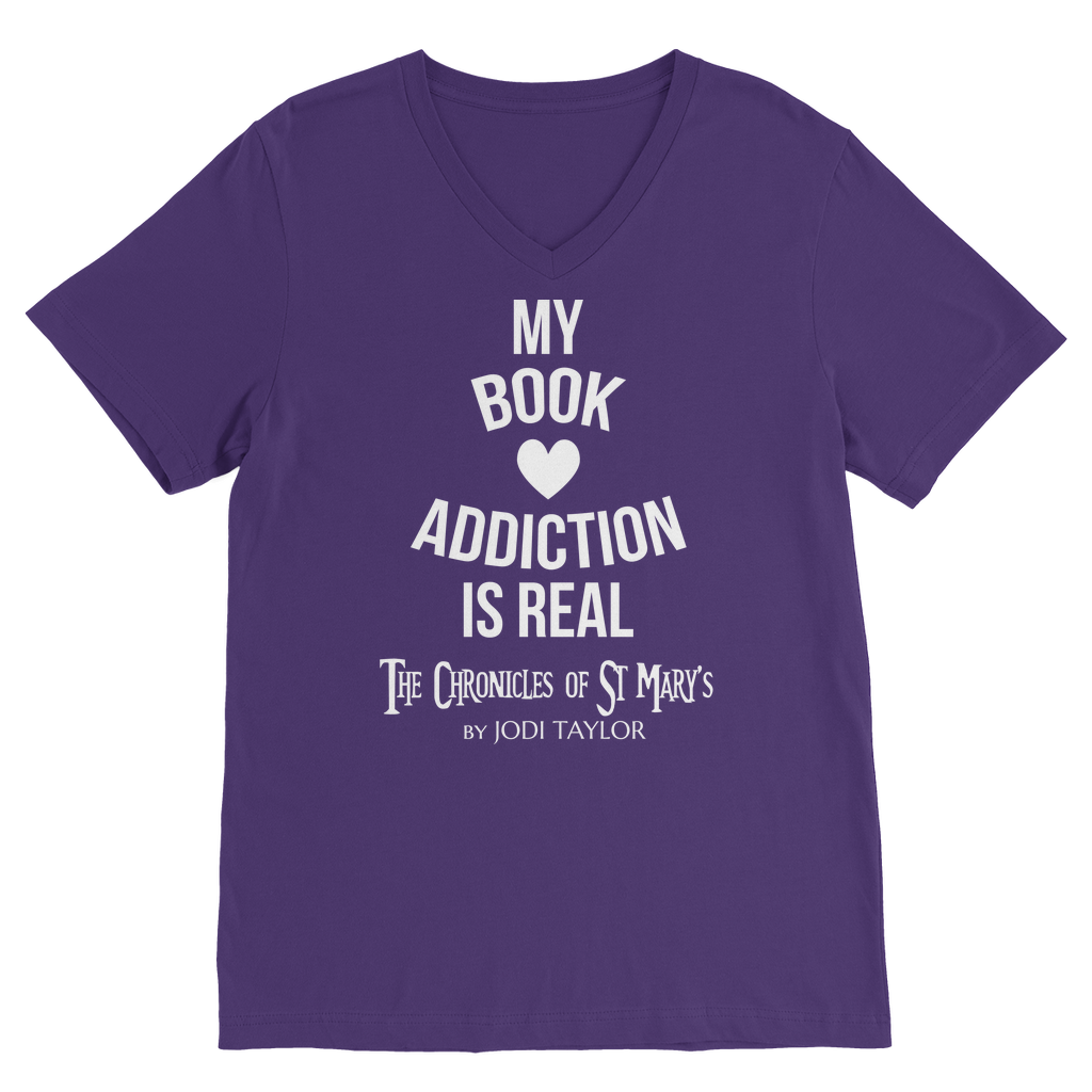 My Book Addiction Is Real (UK) Classic V-Neck T-Shirt - Jodi Taylor