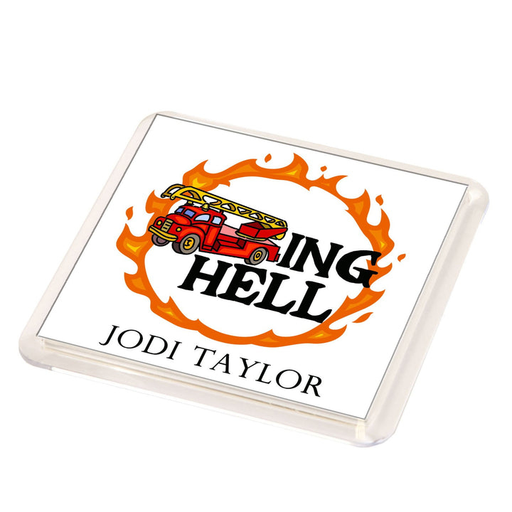Fire Trucking Hell Fridge Magnet
